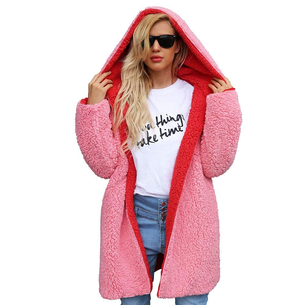 Dainzuy Ladies Sexy Casual Coat,Women Warm Artificial Wool Coat Dichroic Jacket Winter Parka Outerwear