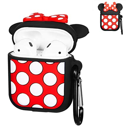 best authentic 32075 0c6b5 Punswan Minnie Big Dots Airpod Case for Apple Airpods 1&2,Cute 3D Funny  Cartoon Character Soft Silicone Catalyst Cover,Kawaii Fun Cool Keychain  Design ...
