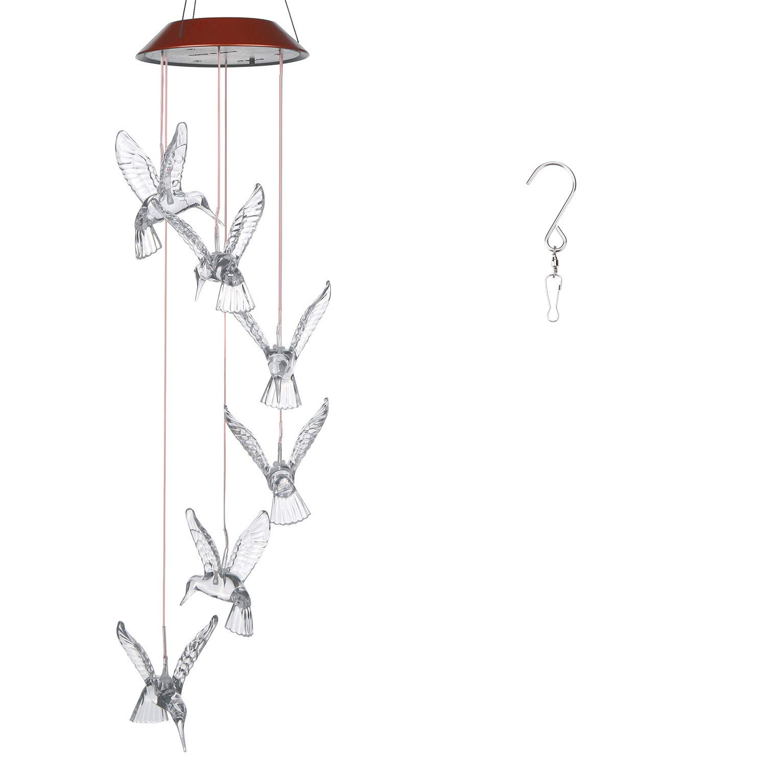 AGPtek LED Color Changing Wind Chimes Hummingbird Solar Lights Mobiles Windlights for Outdoor Indoor Garden Patio Décor