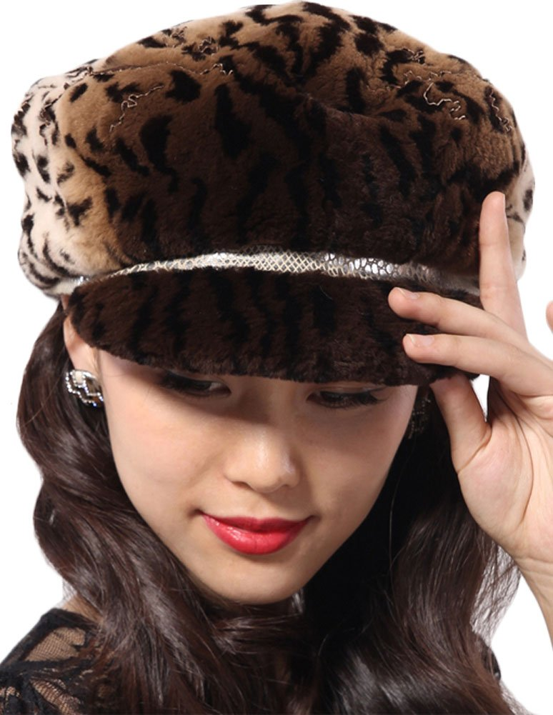 Queenshiny New Fashion Women's 100% Real Genuine Rex Rabbit Fur Peak Cap-One Size-Loepard by Queenshiny