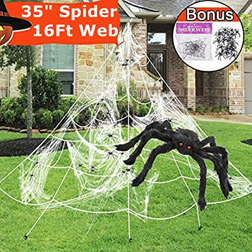CXTSMSKT Spider with Spider Web for Adults and Kids Halloween Party Decorations