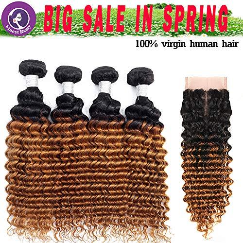 Bundles Bags - Finest Remy Brazilian Deep Wave 100% Unprocessed Virgin Brazilian Hair 4 Bundles 7A Deep Curly Human Hair Extensions (14141414+12, 1B/30 7A)