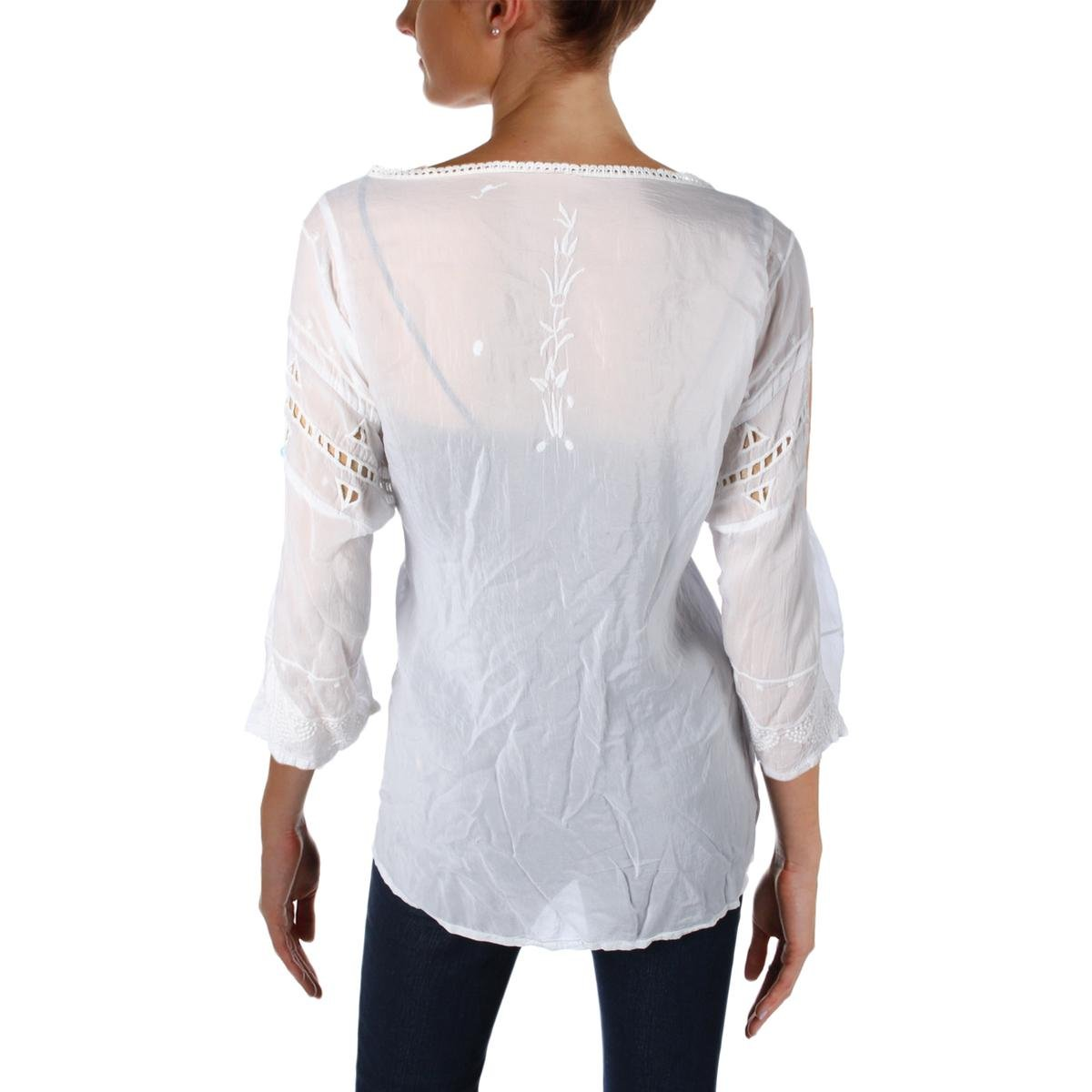 Johnny Was Womens Battenburg Lace Embroidered Casual Top White M by Johnny Was (Image #2)