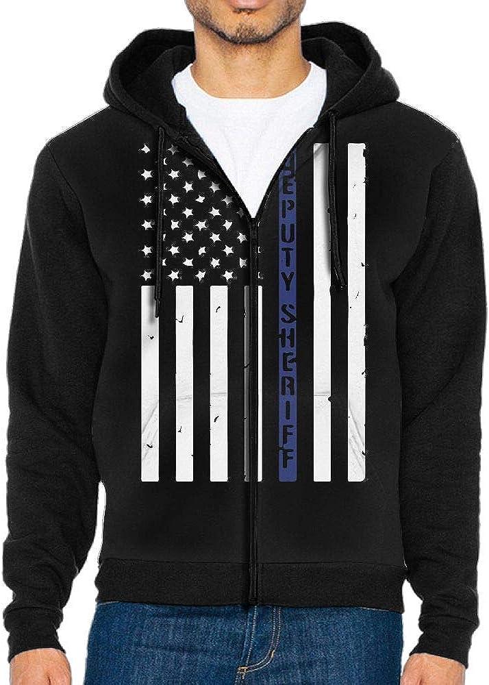 LD6DBGK Deputy Sheriff US Flag Mens Zip Front Hooded Fleece Coat