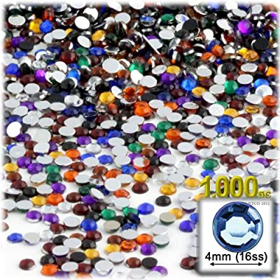The Crafts Outlet 1000-Piece Round Rhinestones, 4mm, Jewel Tone Assortment