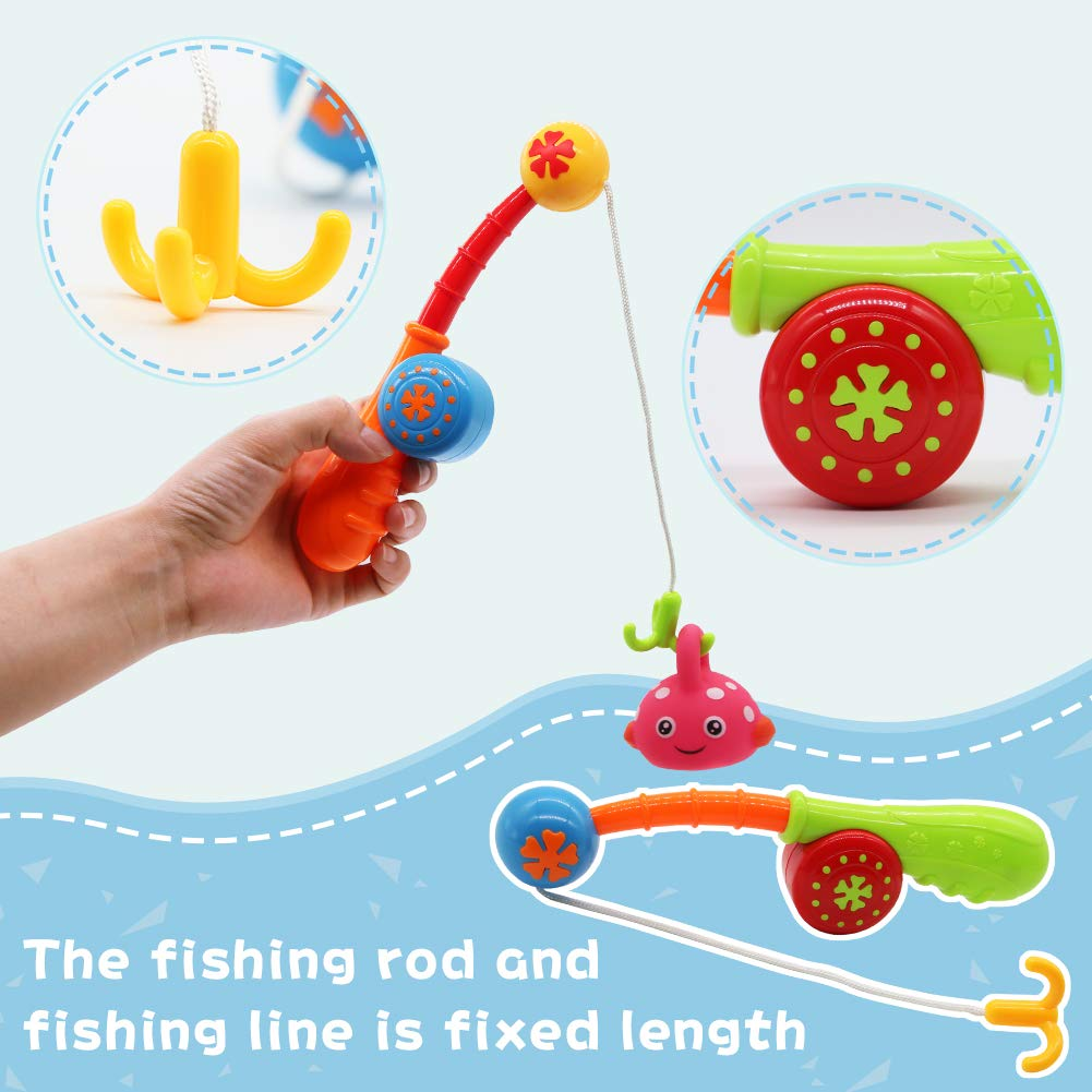Nuheby Baby Bath Squeeze Toys Floating Fish Kids Fishing Pole Toddler Toys Baby Pool Float Bathtub Toy with 5 Cute Fishes for 18 Month Old