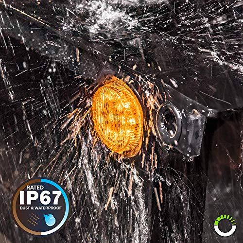 "8pc 2"" Amber + Red Round Trailer LED Marker Lights [DOT Approved] [Reflector Lens] [Grommet] [Flush-Mount] [Waterproof IP67] Marker Lights for Trailer Truck"