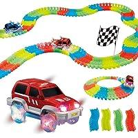 TRENDBUY™ Magic Race Bend Flex and Glow Tracks-220 Pieces,Plastic Magic 11 Feet Long Flexible Tracks Car Play Set for Kids (Multicolour) (11 Foot Tracks)