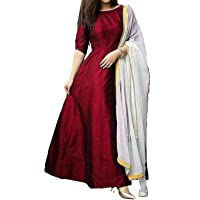 Vibha Enterprise Women's A-Line Knee-Long Plain Gown With Dupatta (Free-Size)