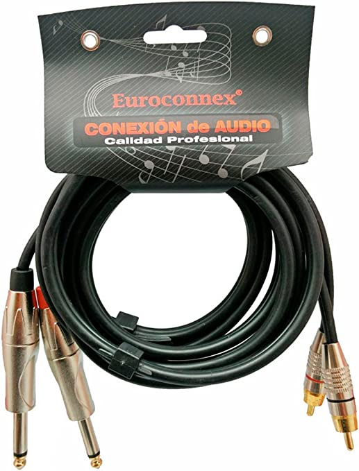 Cable Audio Jack 6.35mm Mono Macho Mesas de Mezcla y Otros Equipos de Audio Macho Altavoces Euroconnex Amplificadores Cable 6mm Profesional para Micr/ófonos 3m