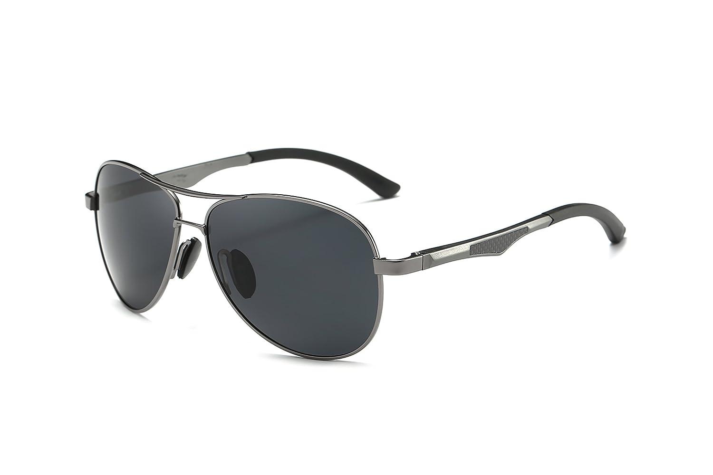 Mondpalast MPTECK @ Gafas de Sol Hombre Polarizadas Aviador clásico polarizado Gunmetal/Negro Gafas de Sol Aviador con el Caso UV 400 Protección Estuche y ...