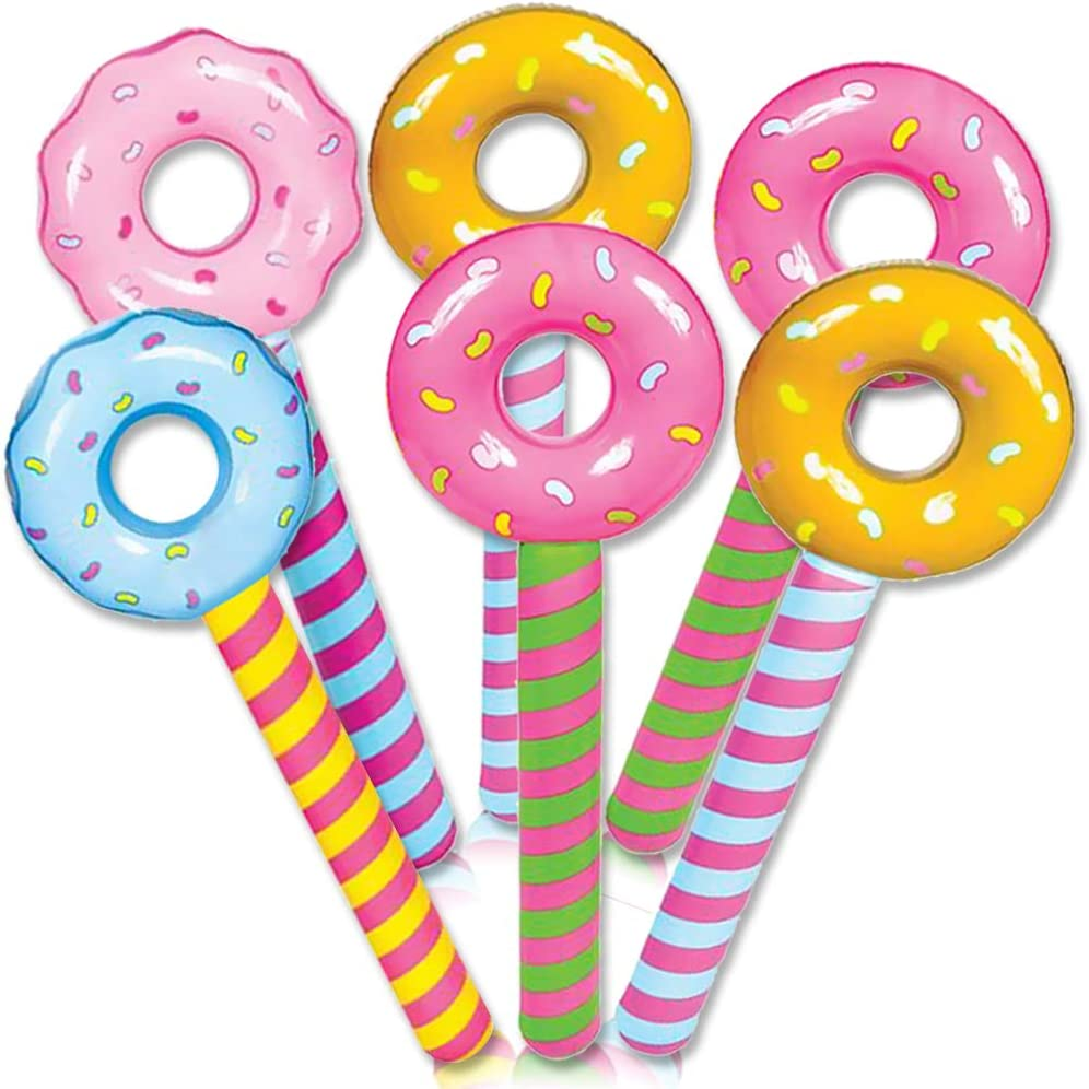 ArtCreativity Donut Lollipop Inflates, Set of 12 Inflatable Donut Lollipops with 4 Designs, Decorations for Themed Parties, Swimming Pool Party Essentials, Birthday Party Props, 32.5 Inches