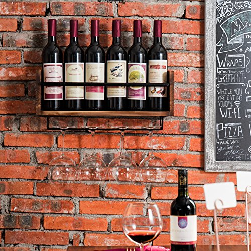 MyGift Industrial Style Wall-Mounted Wood 5-Wine Bottle Rack with 4-Stemware Holder, Brown by MyGift (Image #1)