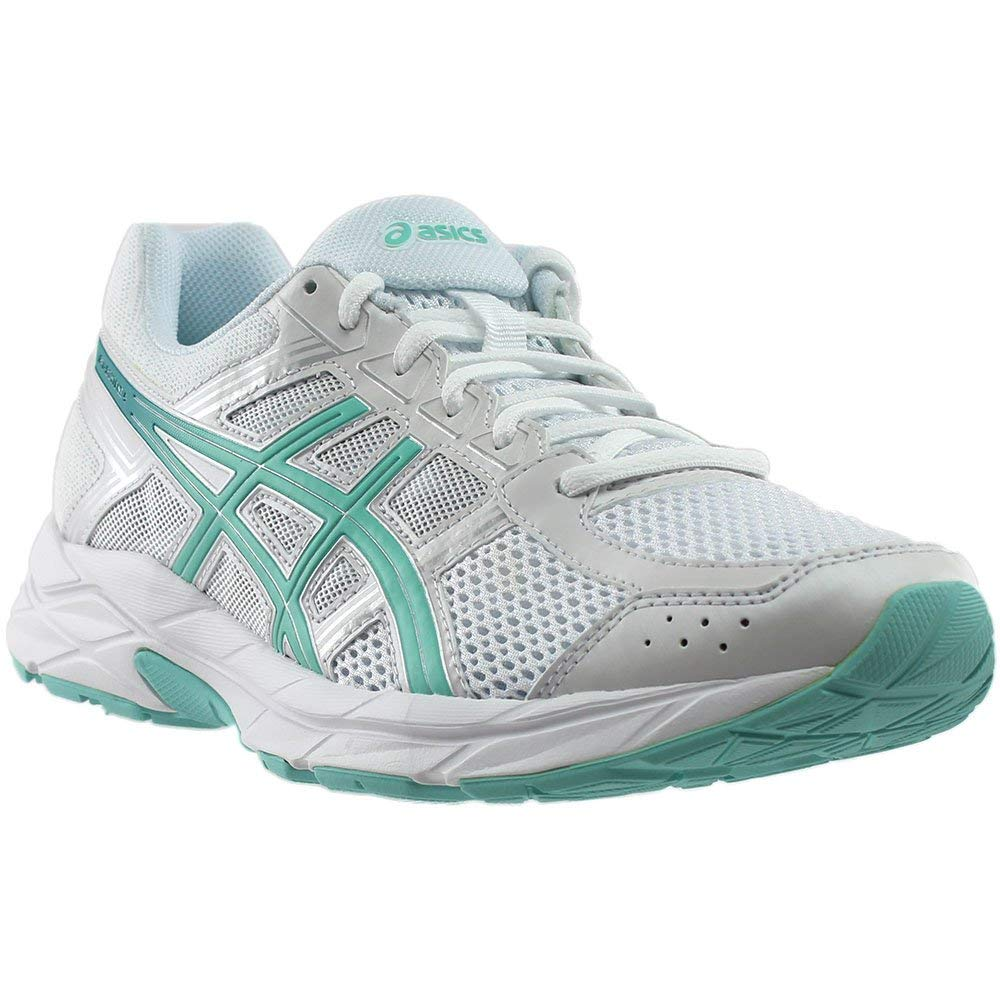 ASICS Womens Gel-Contend 4 Low Top Lace Up Running Sneaker B071P1SXHW ホワイト/ブルー/シルバー 8.5 B(M) US 8.5 B(M) US|ホワイト/ブルー/シルバー