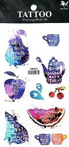 PARITA Tattoos Fantasy Galaxy Fruits Cherry Apple Melon Cup Coffee Cartoon Waterproof Tattoo Stickers Designs Body Art Arm Leg Fake Removable for Men Women Teens (1 Sheet.) (13)