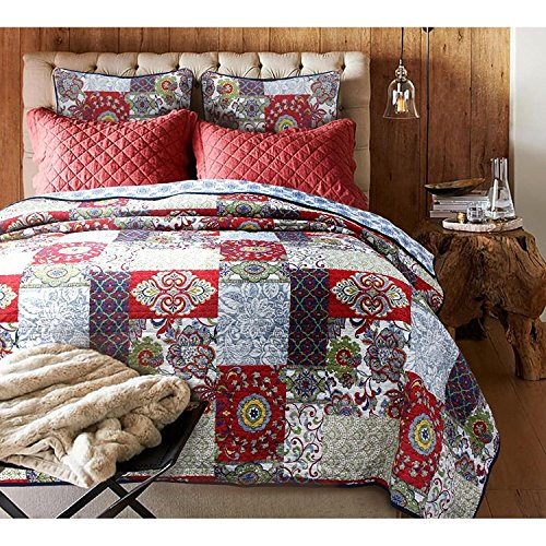 3pc Red Shabby Chic Queen Size Patchwork Quilt, White Blue Damask Country Floral, Antique Country Cotton, Western Vintage Cottage Lake House Flowers Patch Work, Green Trellis Paisley Pattern by MISC