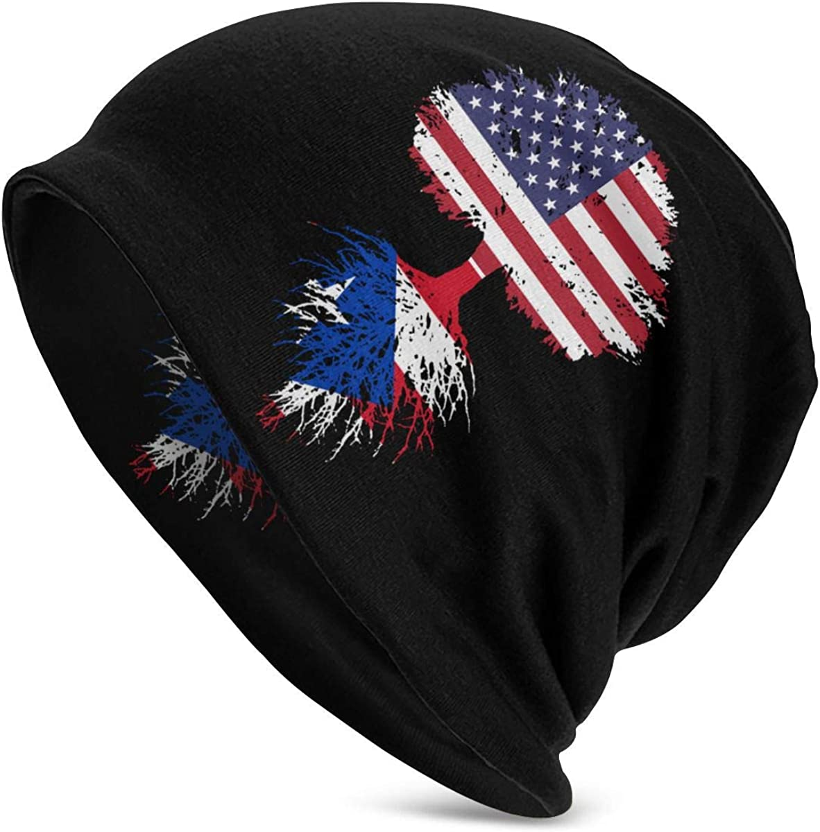 Thin Stretchy /& Soft Winter Cap Puerto Rico American Flag Tree of Life Women Men Solid Color Beanie Hat