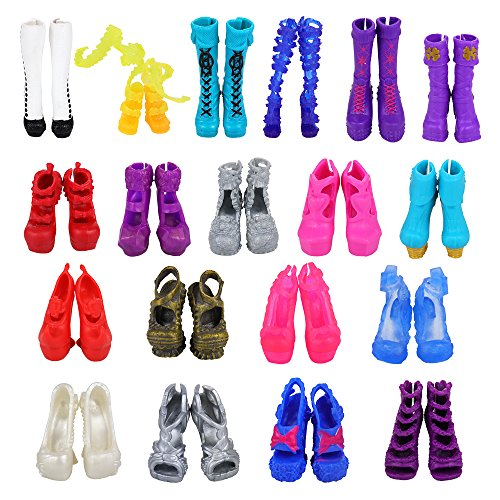 BARWA 10 Pairs Doll Shoes Accessories for Monster High Doll Fashion High Heels Sandals Boots Shoes Pack -