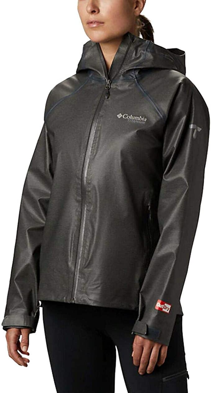 Image of a woman wearing the Columbia Titanium Outdry Ex Reign Jacket in black.