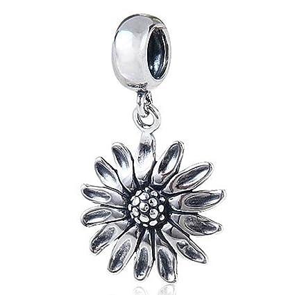 Amazon sunflower charm 925 sterling silver flower pendant sunflower charm 925 sterling silver flower pendant dangle bead for bracelet aloadofball Image collections
