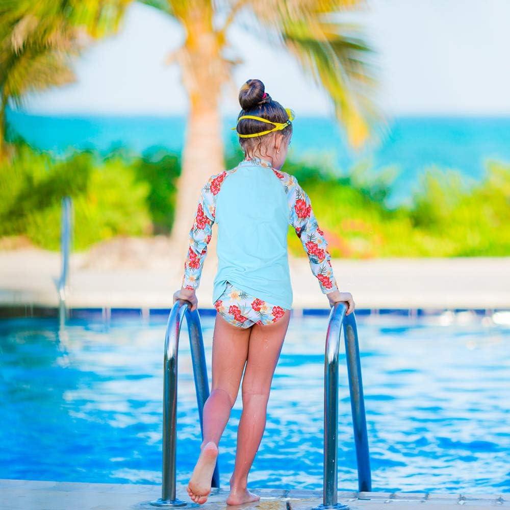 Rash Guard Kids Bathing Suit BAOHULU Girls Two-Piece Long Sleeve Swimsuits UPF50