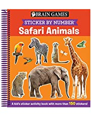 Brain Games - Sticker by Number: Safari Animals (Ages 3 to 6): A Kid's Sticker Activity Book With More Than 150 Stickers!