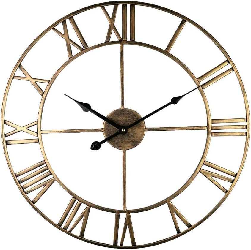 bearivt Reloj de Pared Colección para el hogar Impresionante Esqueleto silencioso Interior/Jardín Reloj de Pared Grande Número Romano Reloj de Metal con Cara Abierta Hierro Redondo
