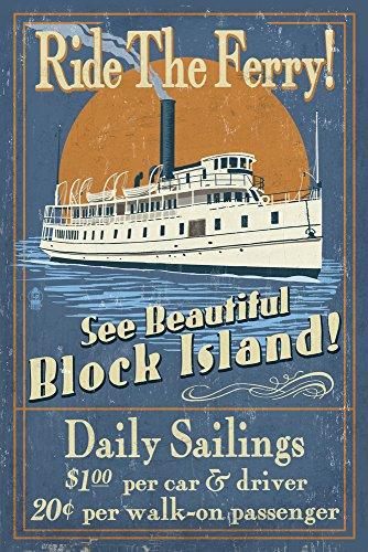 Block Island, Rhode Island - Ferry Ride Vintage Sign (9x12 Art Print, Wall Decor Travel Poster) Rhode Island Block Island