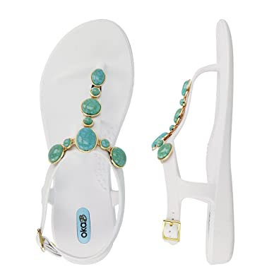 Isla Flip Flop Sandal Shoes Color Salt With Turquoise Strand by OkaB