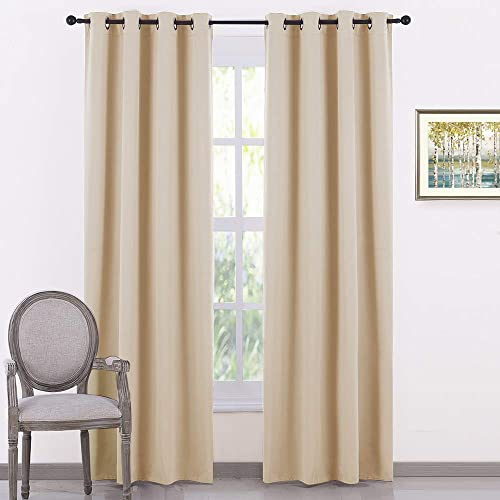 PONY DANCE Beige Window Curtains – Thermal Insulated Light Block Home Decor Room Darkening Curtain Panels Noise Reducing for Bedroom, 55 by 80 Inches, Biscotti Beige, Set of 2