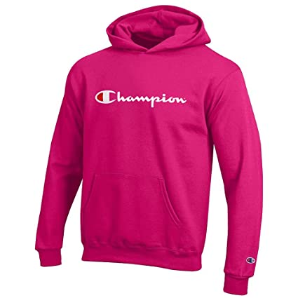eac3b83025bf Amazon.com   Champion Classic Script Logo Youth (Knockout Pink) Powerblend  Pullover Hoodie   Sports   Outdoors