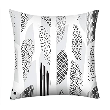 Geometric Cushion Cover Black And White Polyester Throw Square Pillow Case 18/'/'