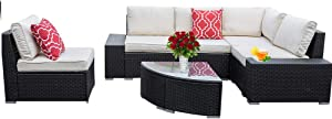 EasyLife185 6 Piece Outdoor Patio Furniture Set, PE Rattan Wicker Patio Furniture Sofa Set,Outdoor Sectional Sofa with Glass Coffee Table and Cotton Cushions (Black)