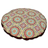 Medium Indoor Outdoor Red Blue Green Medallion Pattern Dog Bed, Floral Round Pet Bedding, Aqua Bold Print, Features Water Fade Resistant, Removable Cover, Stylish, Polyester