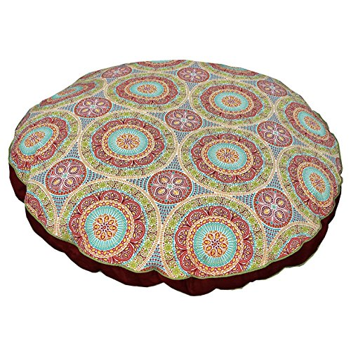 Medium Indoor Outdoor Red Blue Green Medallion Pattern Dog Bed, Floral Round Pet Bedding, Aqua Bold Print, Features Water Fade Resistant, Removable Cover, Stylish, Polyester by N2