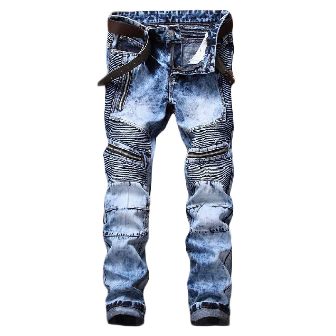 Mens Denim Slim Fitting Long Pants Biker Shift Denim Jeans