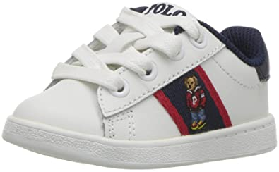 8e9f34c9942 Polo Ralph Lauren Kids Boys' Quilton Sneaker, White Leather Navy/red  Striping/