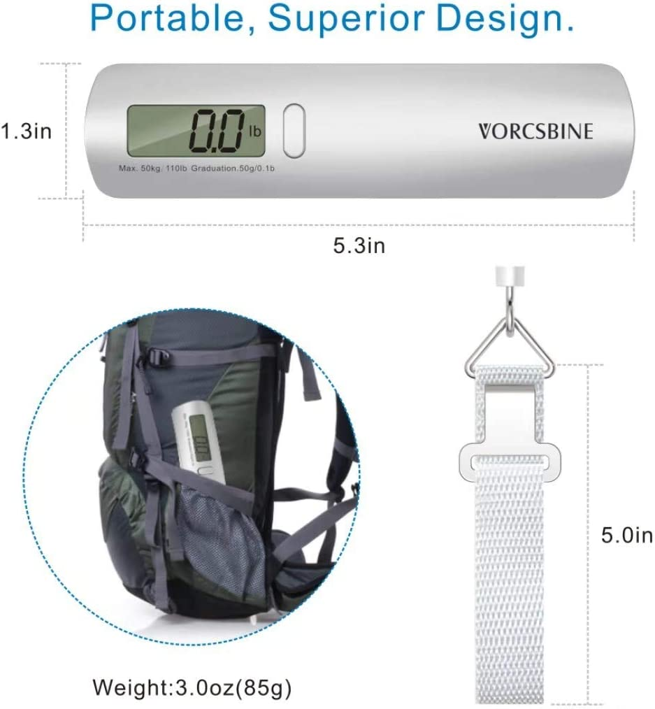 Strong Straps for Travelers 110lbs Hanging Baggage Electronic Scale with Large LCD Display Travel Luggage Weight Scale with Hook VORCSBINE Digital Luggage Scale Portable Suitcase Weighing Scale