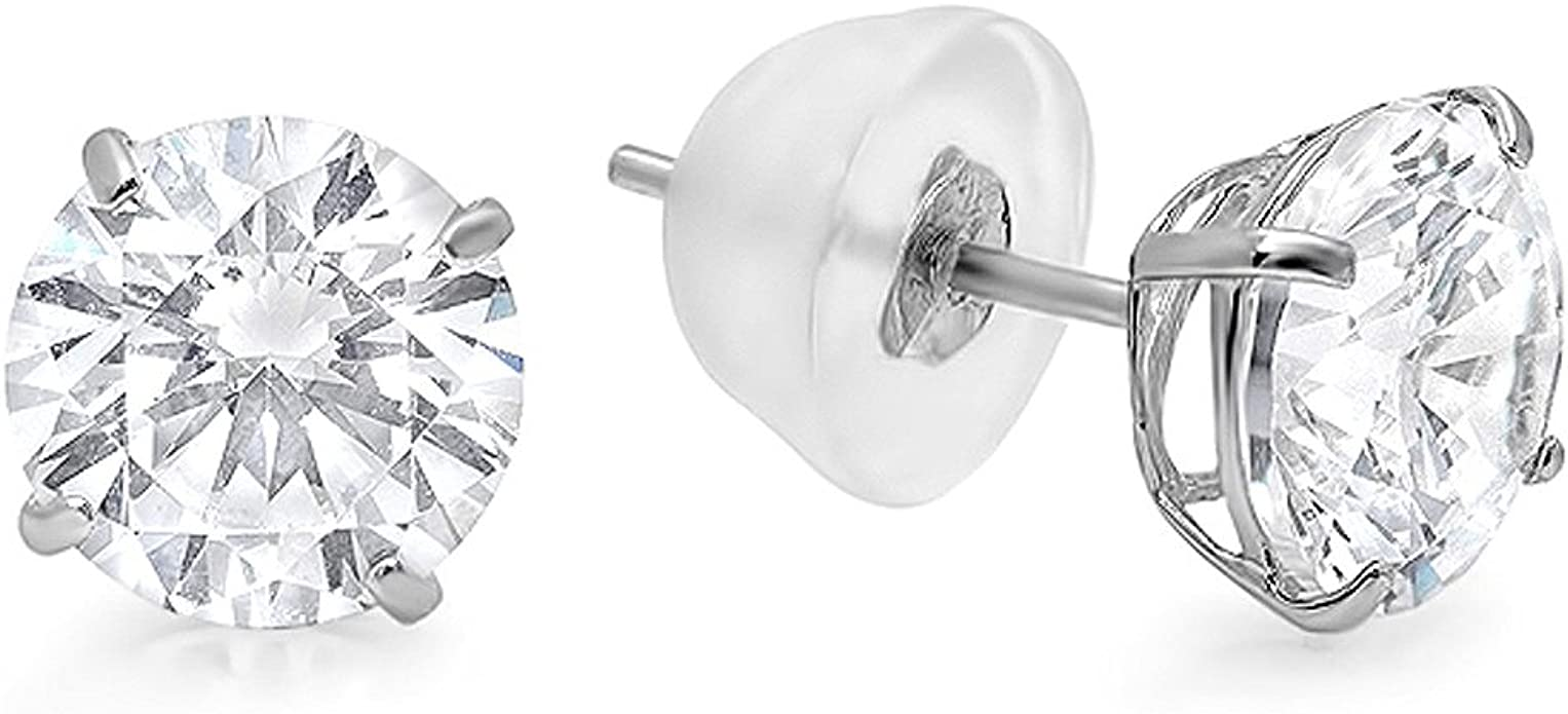 Dazzlingrock Collection 14K Ball 10mm Stud Earrings with Silicone Covered Gold Pushbacks White Gold