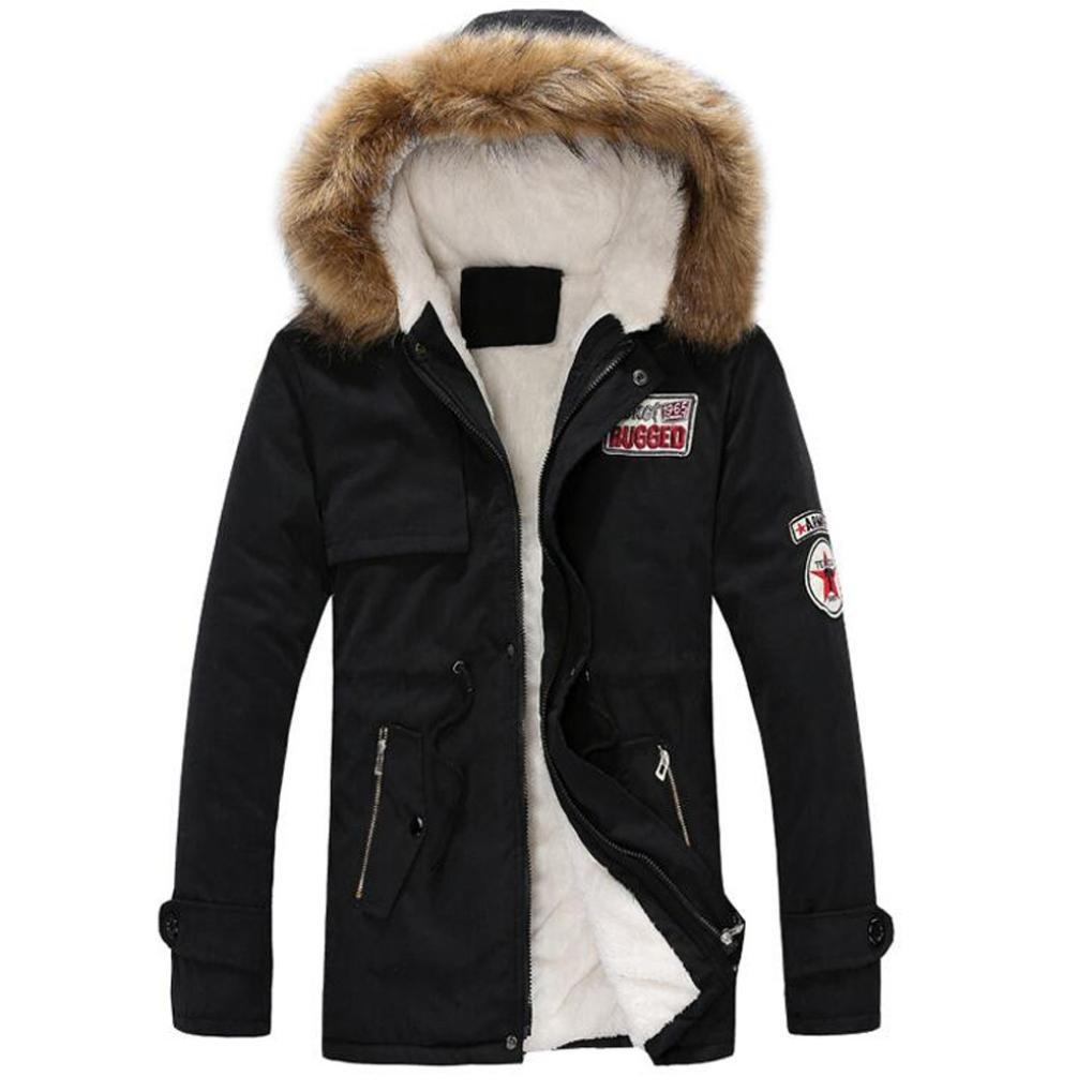 Sinzelimin Autumn Winter Men's Thicken Coat Zipper Long Cotton Jacket Hooded Windproof Coat Outwear (Black, XL)
