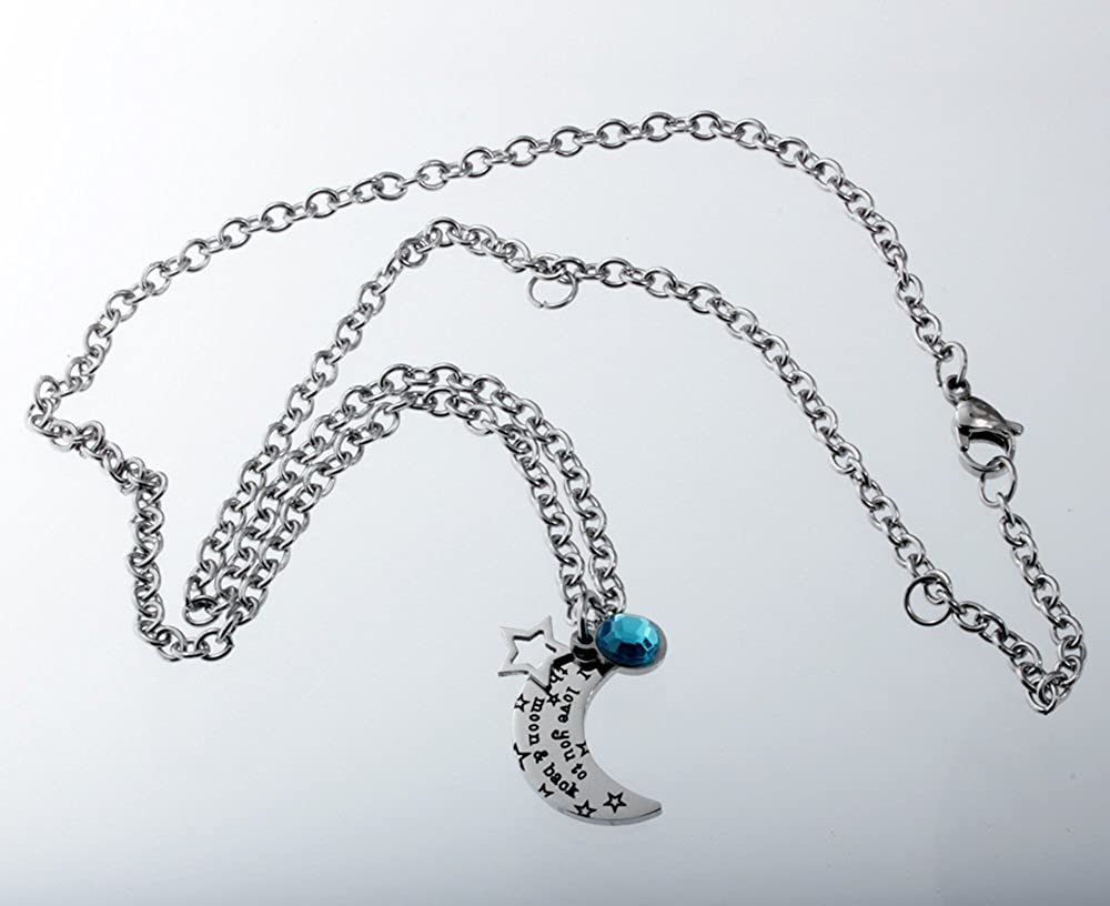 with Light Blue Plastic Acrylic Crystal Charm Jewelry Stainless Steel I Love You to the Moon and Back Necklace R.H