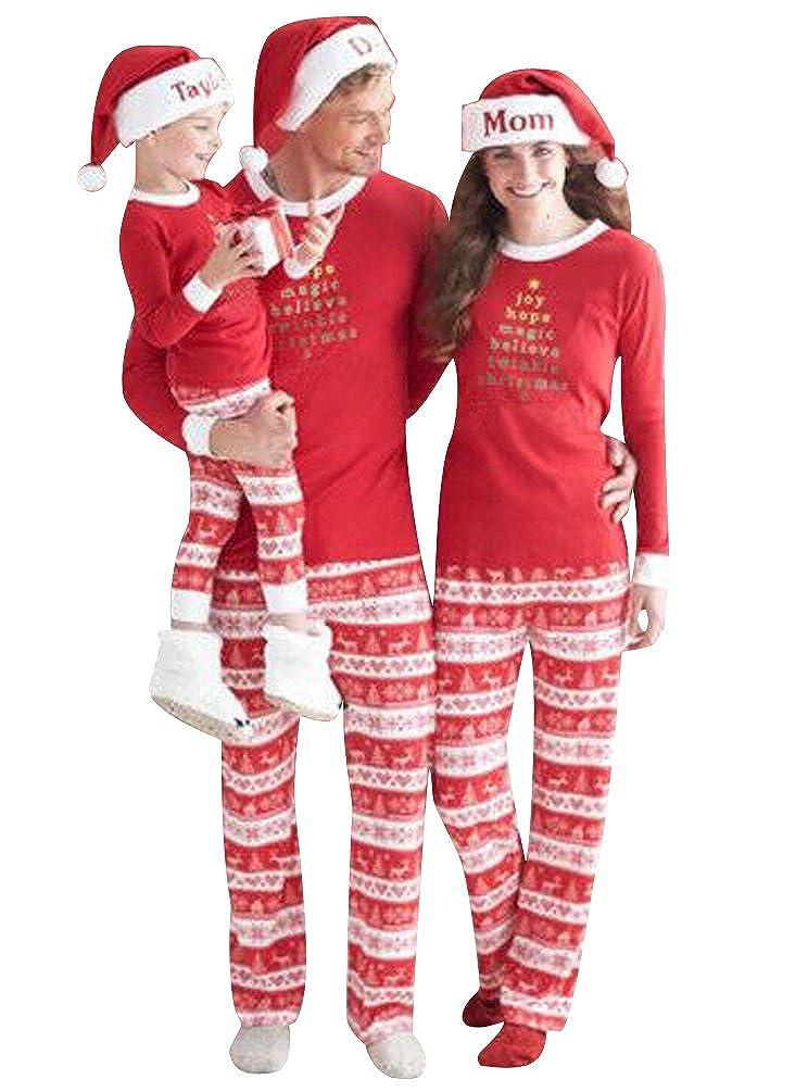 ISSHE Pijamas de Navidad Familia Pijamas Navideñas Adultos Pijama Familiares Manga Larga Hombre Mujer Niños Niña Chica Bebe Rojo Trajes Navideños Para ...