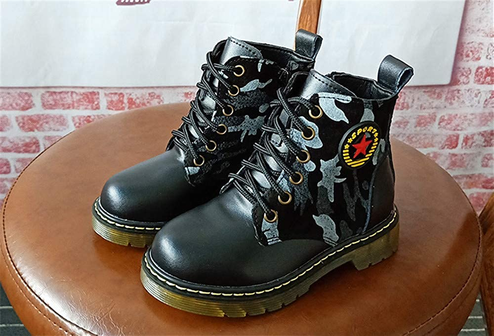 coollight Kid Round Toe Lase-up Ankle Boots Leather Combat Booties Fashion Martens Boots