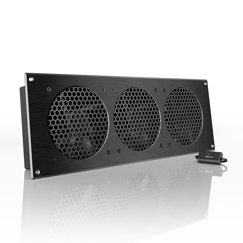 AC Infinity AIRPLATE S9, Quiet Cooling Fan System 18'' with Speed Control, for Home Theater AV Cabinet Cooling