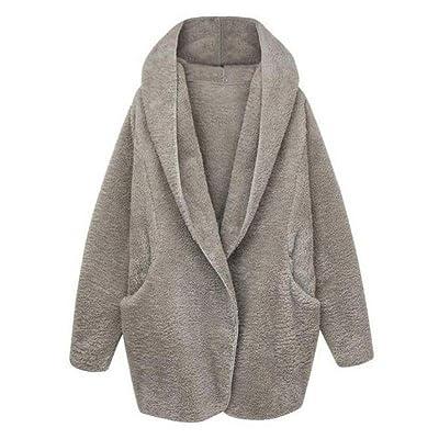 aliveGOT Women Winter Thick Warm Hooded Fluffy Coat Fleece Faux Fur Poncho Jacket Outerwear Top