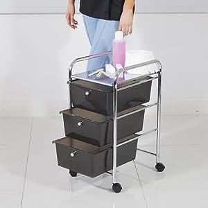 3 Drawer Storage Trolley - Black