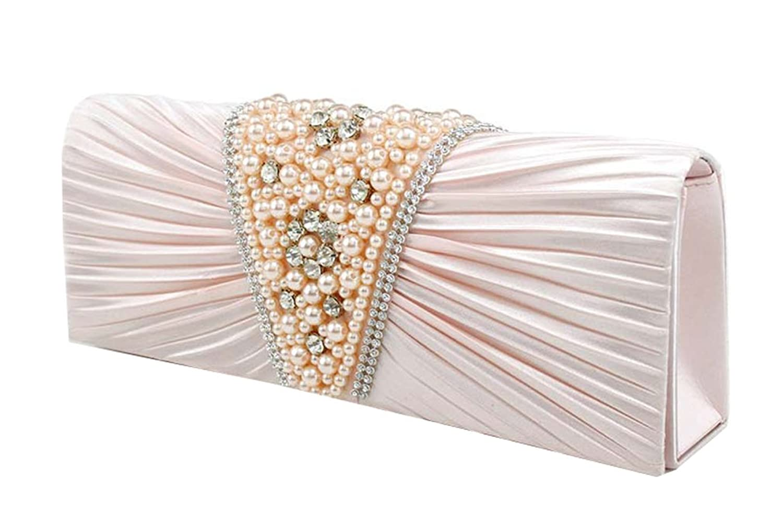 MedzRE Women's Retro Bead Detail Satin Chain Party Clutch Purse