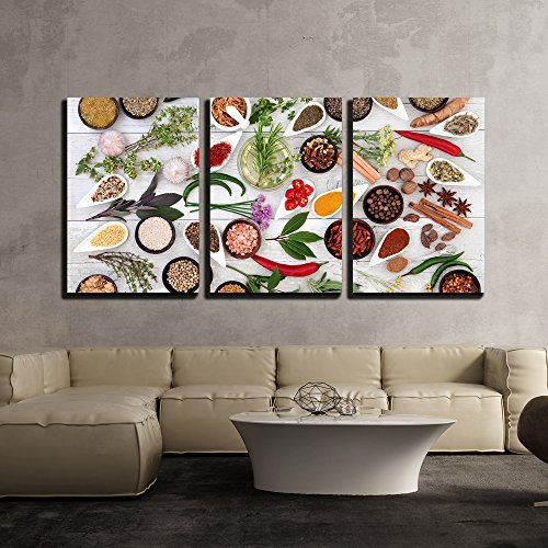 wall26 - 3 Piece Canvas Wall Art - Large Herb Food Seasoning Sampler over Distressed White Wood Background. - Modern Home Decor Stretched and Framed Ready to Hang - 16