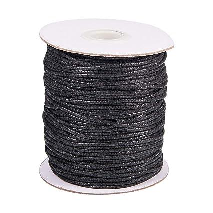 cdc442a541e6 PandaHall 100 Yardas 1.5mm Negro Hilo de cordón de algodón Encerado Cadena  de Abalorios para
