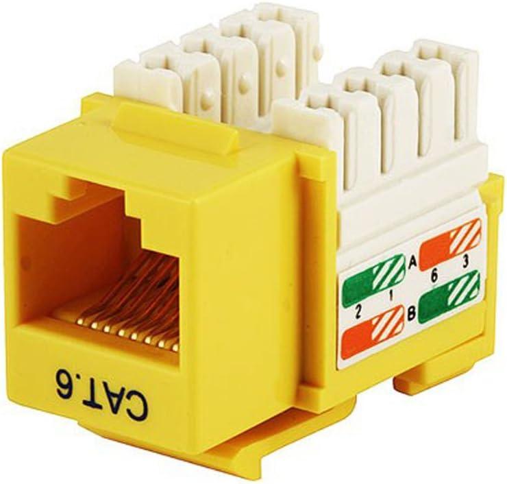 1 x RJ-45 1 x 110-punchdown Yellow Unirise Cat6 Keystone Jack 110 Type Punch Down Yellow